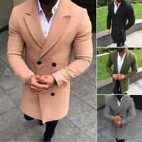 Men Double Breasted Long Trench Coat Winter Warm Outwear Jacket Overcoat Peacoat