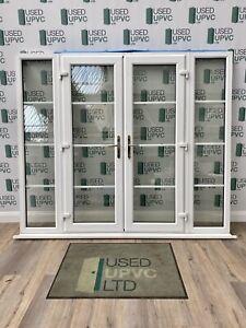 UPVC PVCU FRENCH DOORS WHITE-WIDE-SIDELIGHTS-USED-GEORGIAN BARS-DOUBLE GLAZED