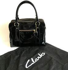 CLARKS Black Patent Large Work Casual Shopper Tote Handbag Grab Bag + Dustbag