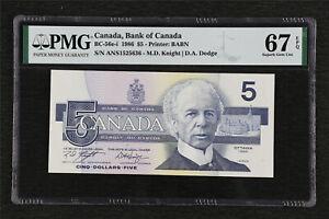 1986 Canada Bank of Canada BC-56e-i 5 Dollars PMG 67 EPQ Superb Gem UNC