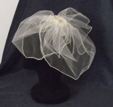BEADED TULLE FASCINATOR BRIDAL HEADPIECE,IVORY COLOUR, Handcrafted, NEW, Aust