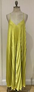 River Island Chartreuse Pleated Dress Size 12 UK, New Without Tags