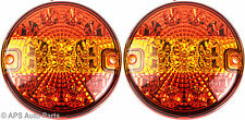 2 x 12/24v 14 LED Hamburger Brake Indicator Tail Light E4 Round Trailer Car Van