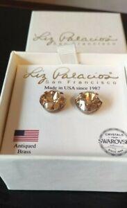 Liz Palacios Stud Earrings Antiqued Brass Swarovski Crystals in box