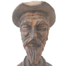 Don Quixote de la Mancha Carved Wooden Bust Statue Primitive Spanish Folk Art