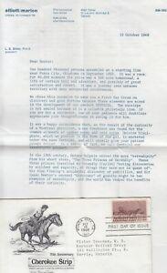 1968 #1360 CHEROKEE STRIP FDC w ARTMASTER CACHET W/ FOREIGN DRUG COMPANY INSERT