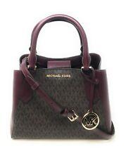 Michael Kors Kimberly Small Leather Satchel Handbag - Merlot Brown