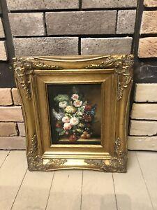 19th Century Antique Dutch Renaissance Flower Oil Painting