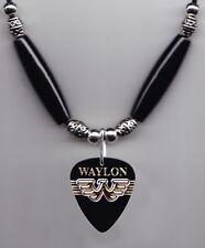 Waylon Jennings Black Guitar Pick Necklace