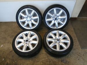 """MINI COOPER S R50 R53 SET OF 4 17"""" ALLOY WHEELS SILVER 205/45R17 TYRES"""