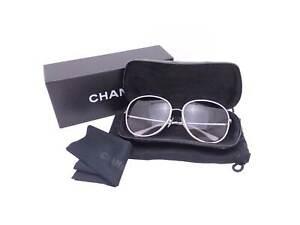 Auth CHANEL Sunglasses Gray/Silver Gradation Black Plastic/Leather - e45957e