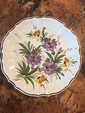 "Vtg Purple Flower Floral Plate Ceramiche Larry SKG ~9.5"" Italian"