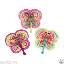 12 Everyday Birthday Tea Party Favors Girls Paper BUTTERFLY Shaped Folding Fans