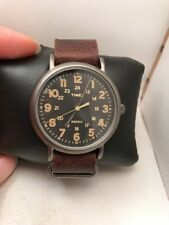 "Timex TW2P85800, Men's ""Weekender"" Brown Leather Watch, Indiglo, TW2P858009J-H30"