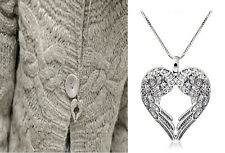 silver jewelry fashion angel wing BEADED pendant Sweater necklace HEART love HS5