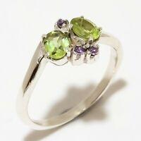 Peridot, Amethyst Gemstone Handmade 925 Sterling Silver Ring Size 6.5 R-108