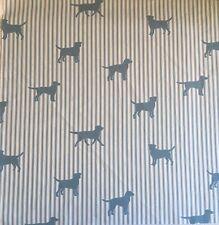 Emily Bond Labrador On Stripe Blue FQ 50cm Square Lightweight Cotton Fabric New