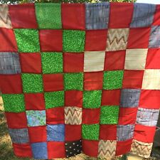 """Quilt Top Scrappy Patch 43x43"""" Reds Novelty Cottons Lt Weight Unfinished W"""