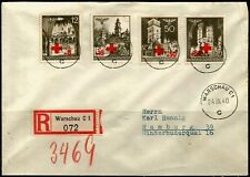 Germany 1940, Generalgouvernement, Red Cross, Registered cover.