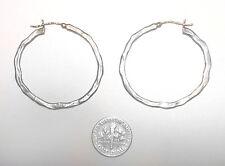 Modernist VINTAGE Sterling 925/14k GOLD Hand Wrought STUDIO HOOP EARRINGS