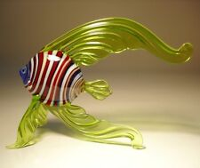"Blown Glass ""Murano"" Art Figurine Green with Red & White Stripes Angel FISH"