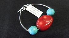 "Turquoise & Coral Sterling Silver Bracelet 6"" New!"