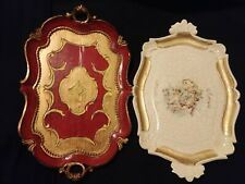 """Vintage Two Florentine style Trays Handled 14"""""""
