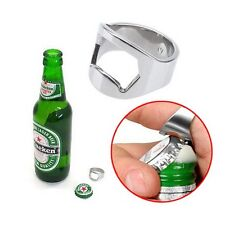 Silver Stainless Steel Finger Thumb Ring Opener Soda Bottle Bar Beer Party Tools