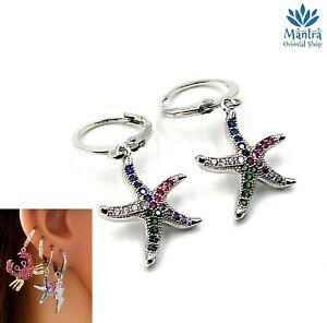 Orecchini da donna cerchio piccoli con stella marina per a cerchietto mini hoop