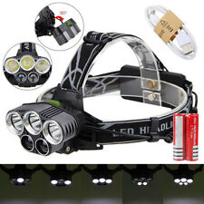 80000LM 5x White LED Head Headlamp Headlight Torch Lamp+USB Line+2xBattery