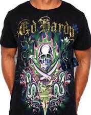 Ed Hardy Men's Signature Two Swords Skull & Snakes Black T-Shirt New XXL
