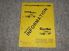 1983 Porsche 911SC 911 SC Turbo Factory Service Repair Shop Workshop Manual