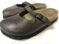 Birkenstock Birki's (230) Brown Leather Slip-ons -Mary Jane Buckles - Us 5 Eu 35