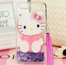 Cute Hello Kitty Mirror Bling Liquid Dynamic Love Giltter Strap Phone Case Cover