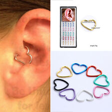 1box Daith Stainless Steel HEART Ring Helix Tragus Piercing Hoop Ear Cartilage