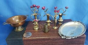 dollhouse metalware strainer vases, roses, pitcher, tray lot