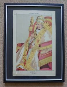 Framed Antique Vanity Fair Print 1870 Pius lX Sovereign No. 6 The Infallible