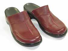 e58f6ae4db7 Ex cond!Womens CLARKS Clogs Mules Shoes leather red heels U S 7 M  105