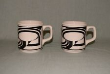 Homer Laughlin China USA LOT of 2 Modern Art Black Swirl Off White/Cream Mugs