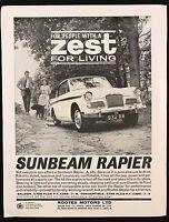 Vintage 1962 Motor Sport Magazine Advert - SUNBEAM RAPIER, Zest for Living