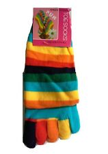 3prs Womens Girls Cotton Knee High Toe Socks Rainbow Stripe Party Costume Ball Medium (women 3-9 Men 2-8) Assorted 3 Pairs