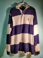 Vintage Bear Rugby 90s Striped Polo Shirt M Outdoor Sports Blue Ralph Lauren