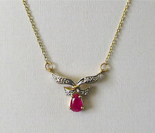 """10k Yellow Gold """"V"""" Necklace w/Pear-Cut Genuine Ruby--17"""" length--Free Shipping!"""