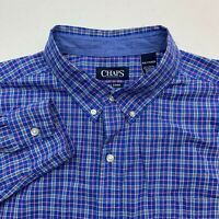 Chaps Button Up Shirt Mens 2XL Blue Long Sleeve Check Button Down Collar Pocket