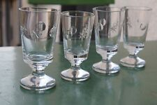 4 Antike Gläser Teegläser Groggläser Handgeschliffen Absinthglas