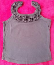 Girls New George Lace trim vest top-brown age 6-7yrs
