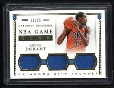 Kevin Durant National Treasures NBA GAME GEAR GOLD 3x Jersey #/25! RARE Warriors