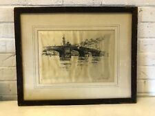 "Antique Joseph Pennell ""Ponte San Trinita Florence"" Signed 1883"