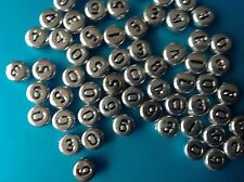 100 x Silver-White-or-Gold Plated Acrylic Round NUMBERS coin Beads 7x4mm
