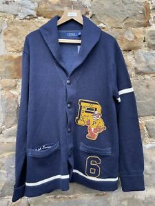 Polo Ralph Lauren Men's College Varsity Cardigan Navy Cotton Cardigan Large BNWT